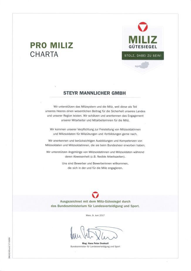 STEYR MANNLICHER GETS HONORED WITH THE MILITIA SEAL OF APPROVAL